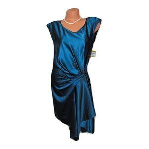 Rachel Roy Dark Green Mock Wrap Formal Dress
